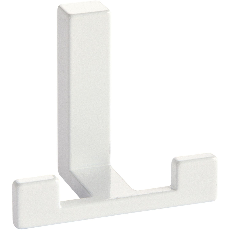1x Moderne garderobe haakjes-jashaken-kapstokhaakjes metaal wit dubbele haak 4 x 6,1 cm