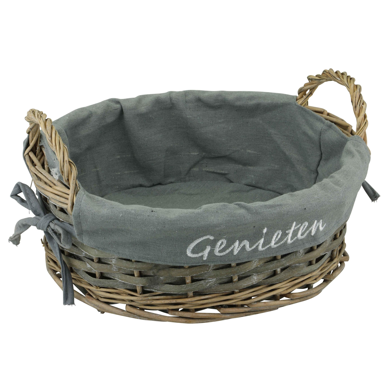 1x Ronde rieten decoratie mand met voering en handgrepen 32 x 12 cm bruin-grijs