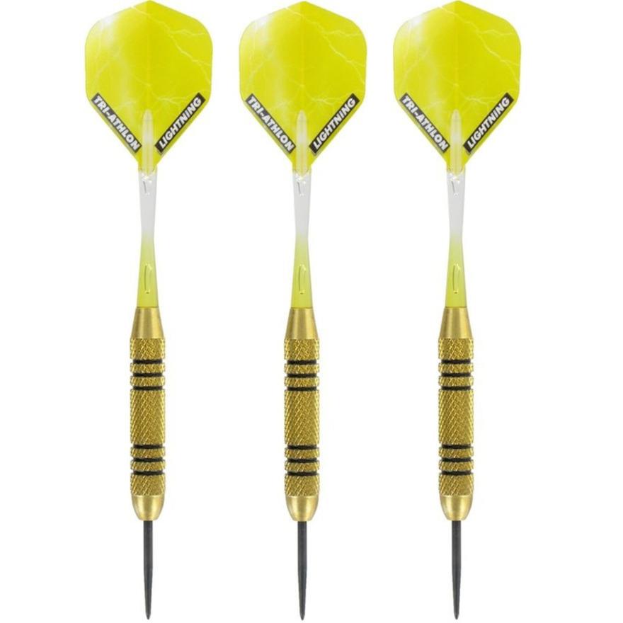 1x Set van dartpijltjes Speedy Yellow Brass met Metallic Lightning flites 23 grams