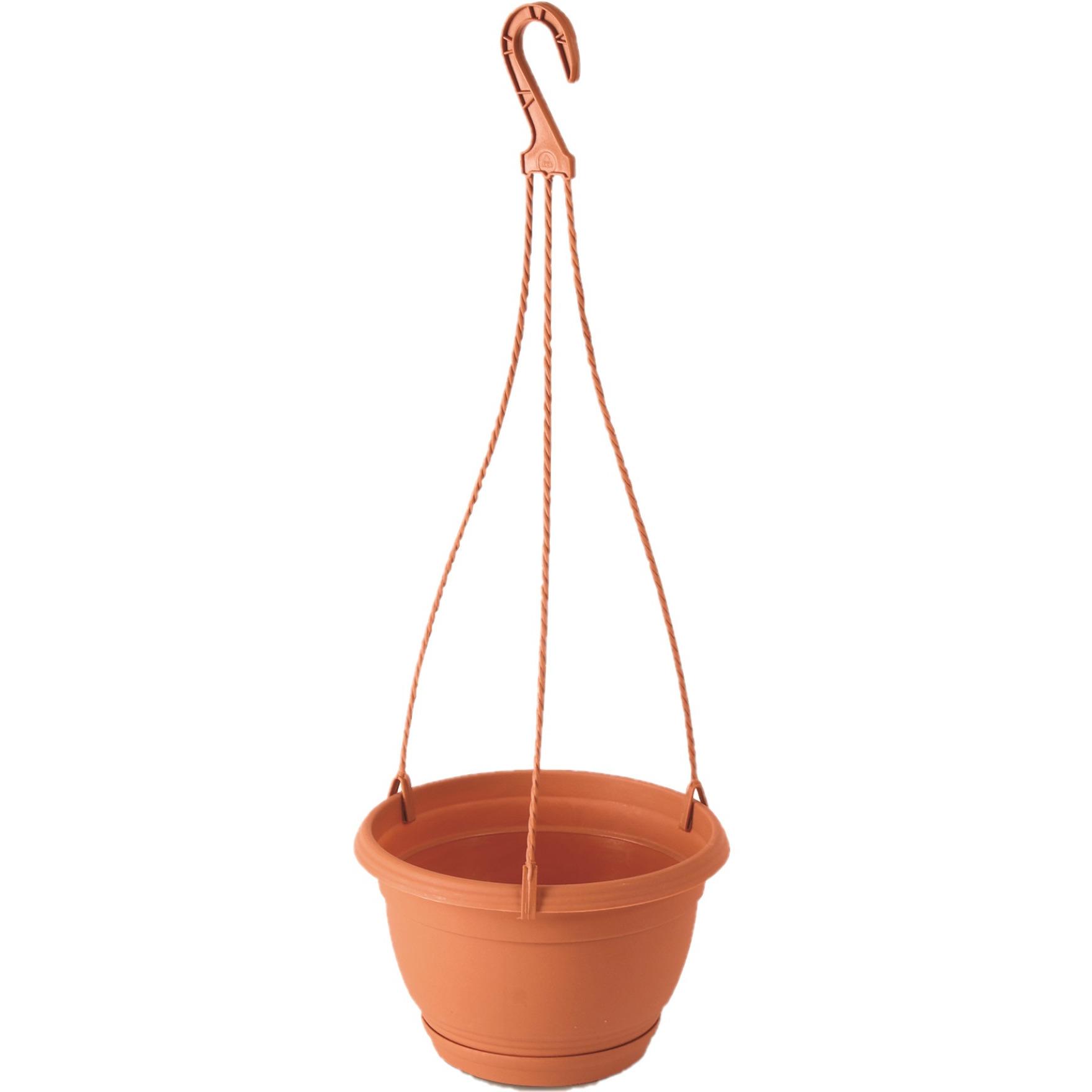 1x Stuks hangende kunststof Agro terracotta bloempot-plantenpot met schotel 2 liter