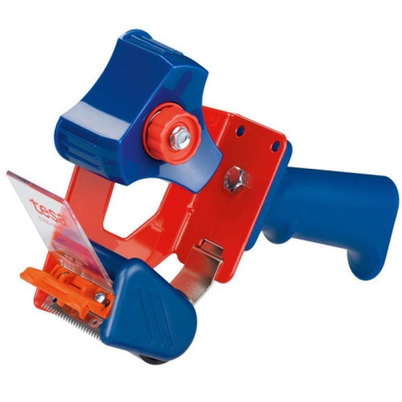 1x Tesa verpakkingstape handdispenser blauw-rood