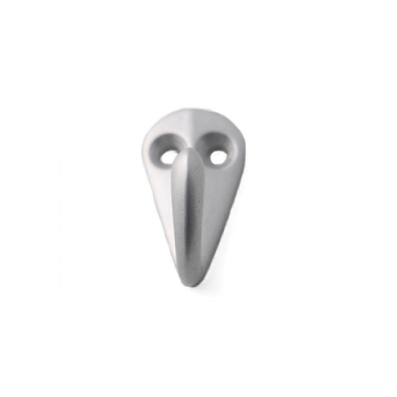 1x Zilveren garderobe haakjes-jashaken-kapstokhaakjes aluminium enkele haak 3,6 x 1,9 cm