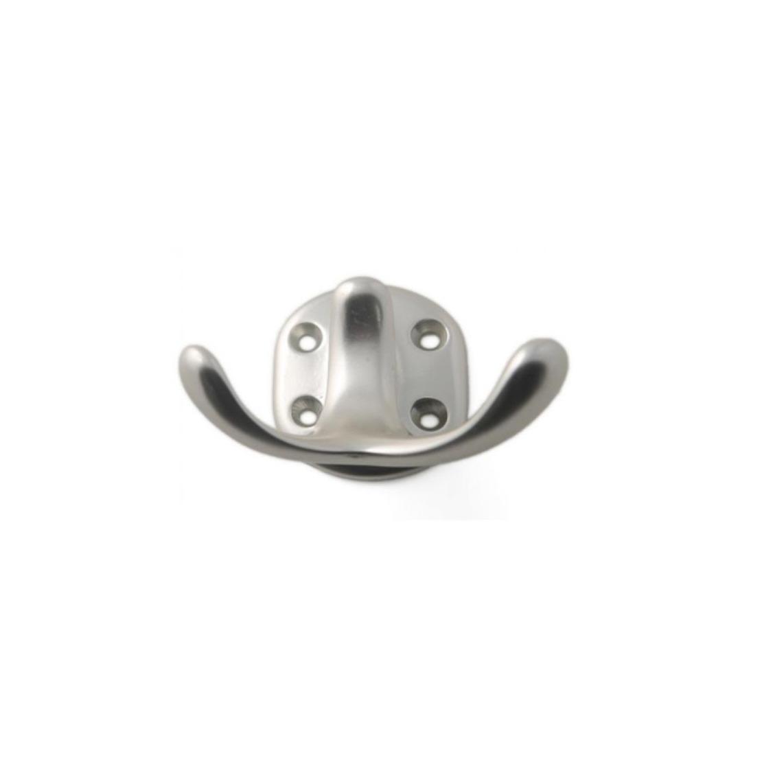 1x Zilverkleurig antieke garderobe haakjes-jashaken-kapstokhaakjes aluminium dubbele haak 5 x 7 cm