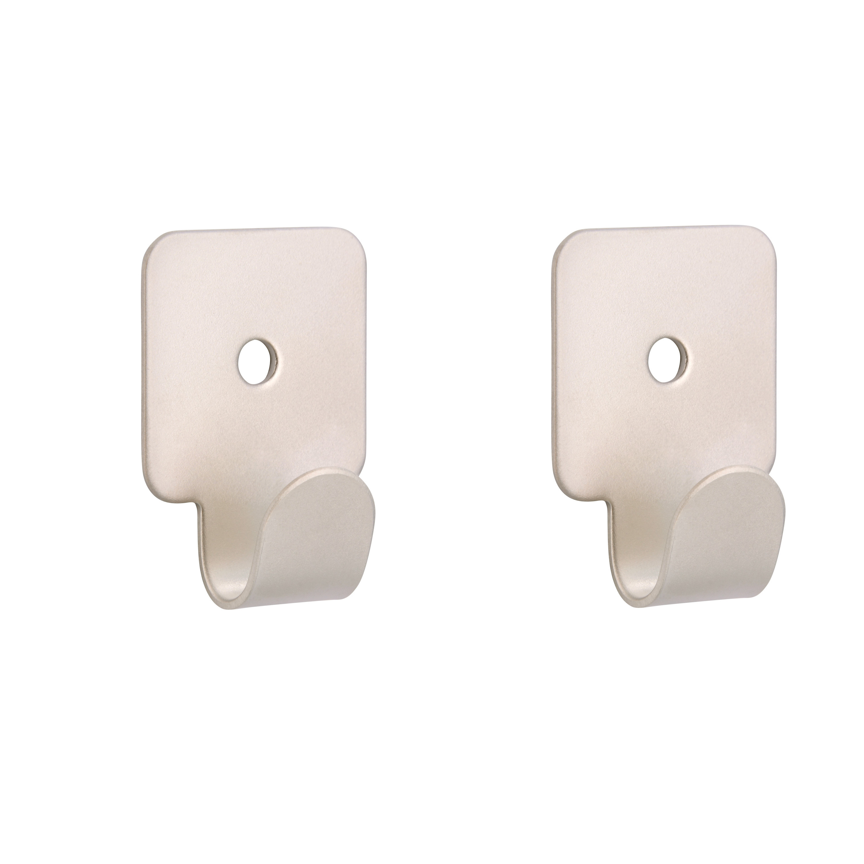 1x Zilverkleurige garderobe haakjes-jashaken-kapstokhaakjes metaal verzinkt enkele haak 4.1 x 3.0 cm