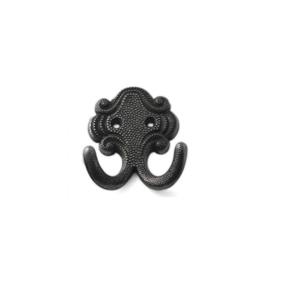 1x Zwarte garderobe haakjes-jashaken-kapstokhaakjes zamac dubbele haak 6,7 x 5,2 cm