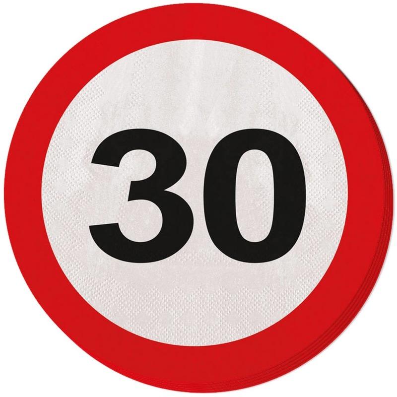 Verwonderlijk 20x Dertig/30 jaar feest servetten verkeersbord 33 cm rond DW-97