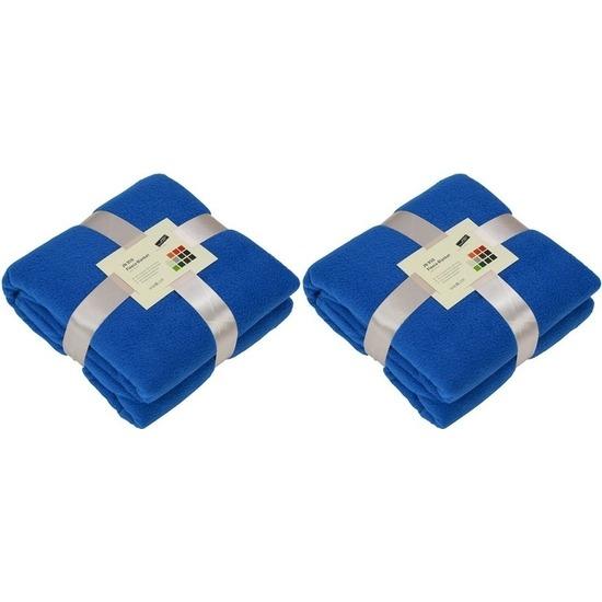2x Fleece woondekens-woonplaids kobaltblauw 130 x 170 cm