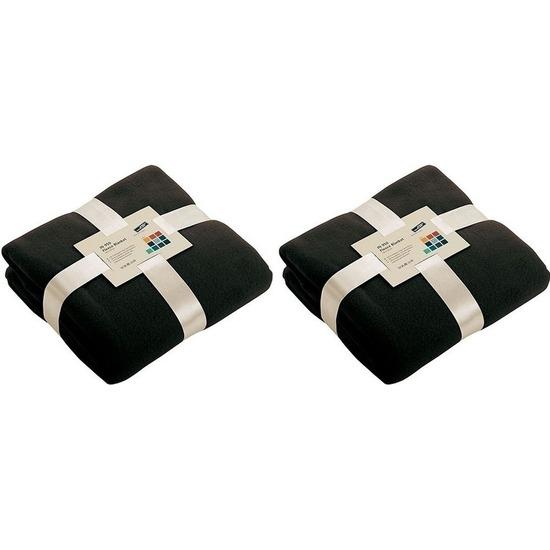 2x Fleece woondekens-woonplaids zwart 130 x 170 cm
