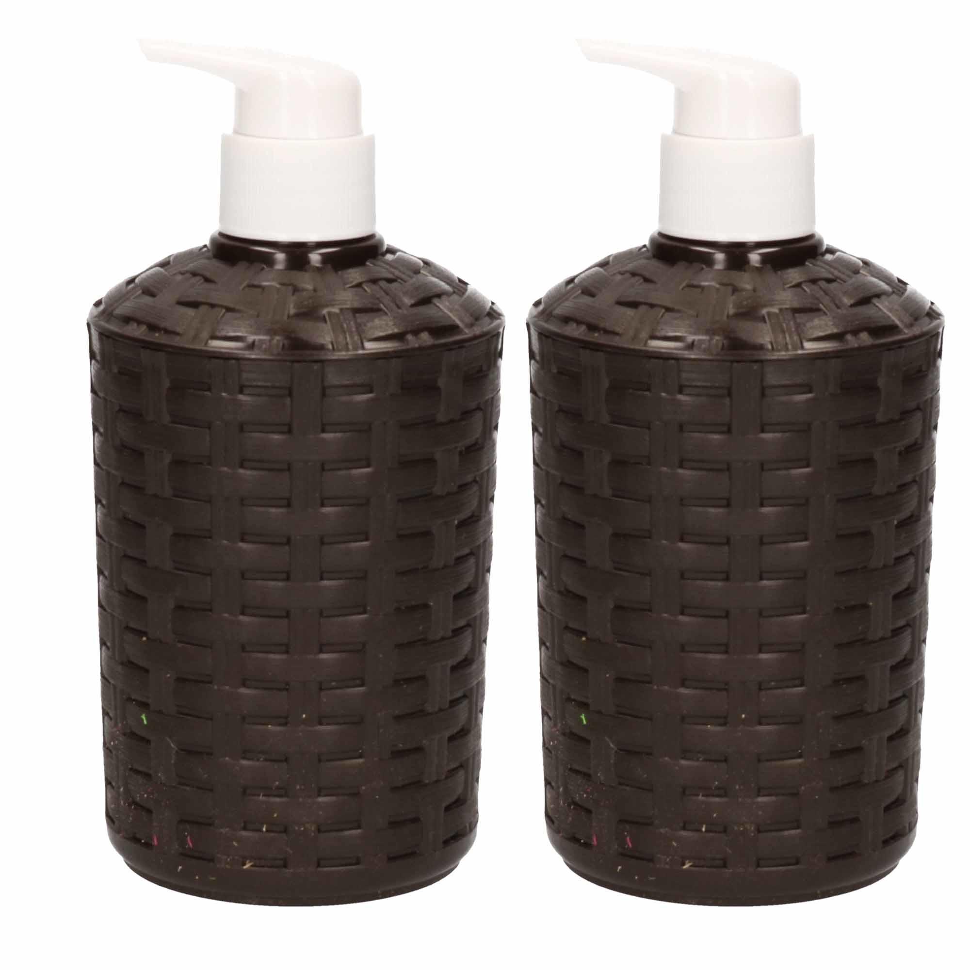 2x Geweven zeeppompjes zwart navulbaar 16 cm