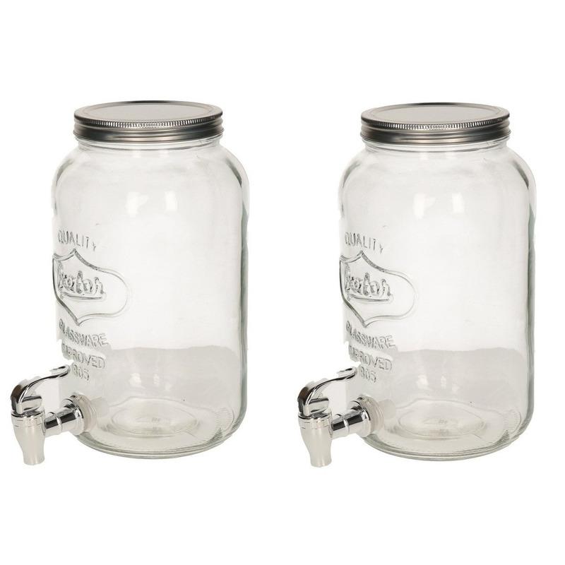 2x Glazen drank dispensers-limonadetaps met kraantje 3 liter