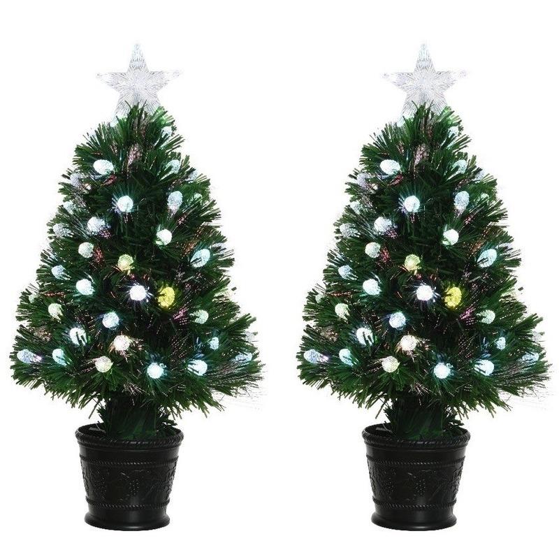 2x Groene glasvezel kunstkerstbomen 90 cm met 84 lampjes