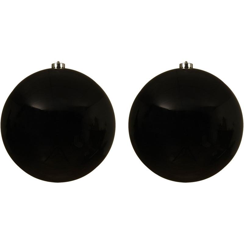 2x Grote raam-deur-kerstboom decoratie zwarte kerstballen 20 cm glans