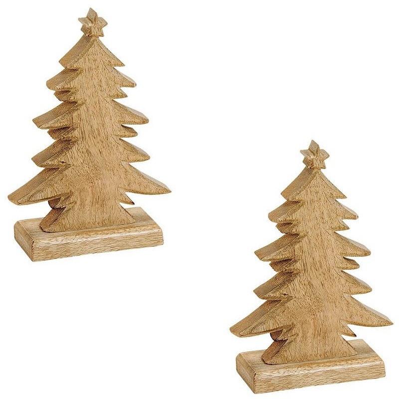 2x Houten kerstboompjes kerstdecoratie-versiering 20 cm