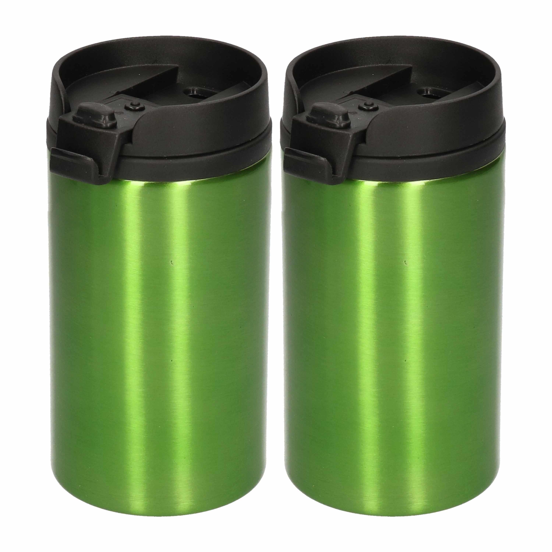 2x Isoleerbekers RVS metallic groen 320 ml