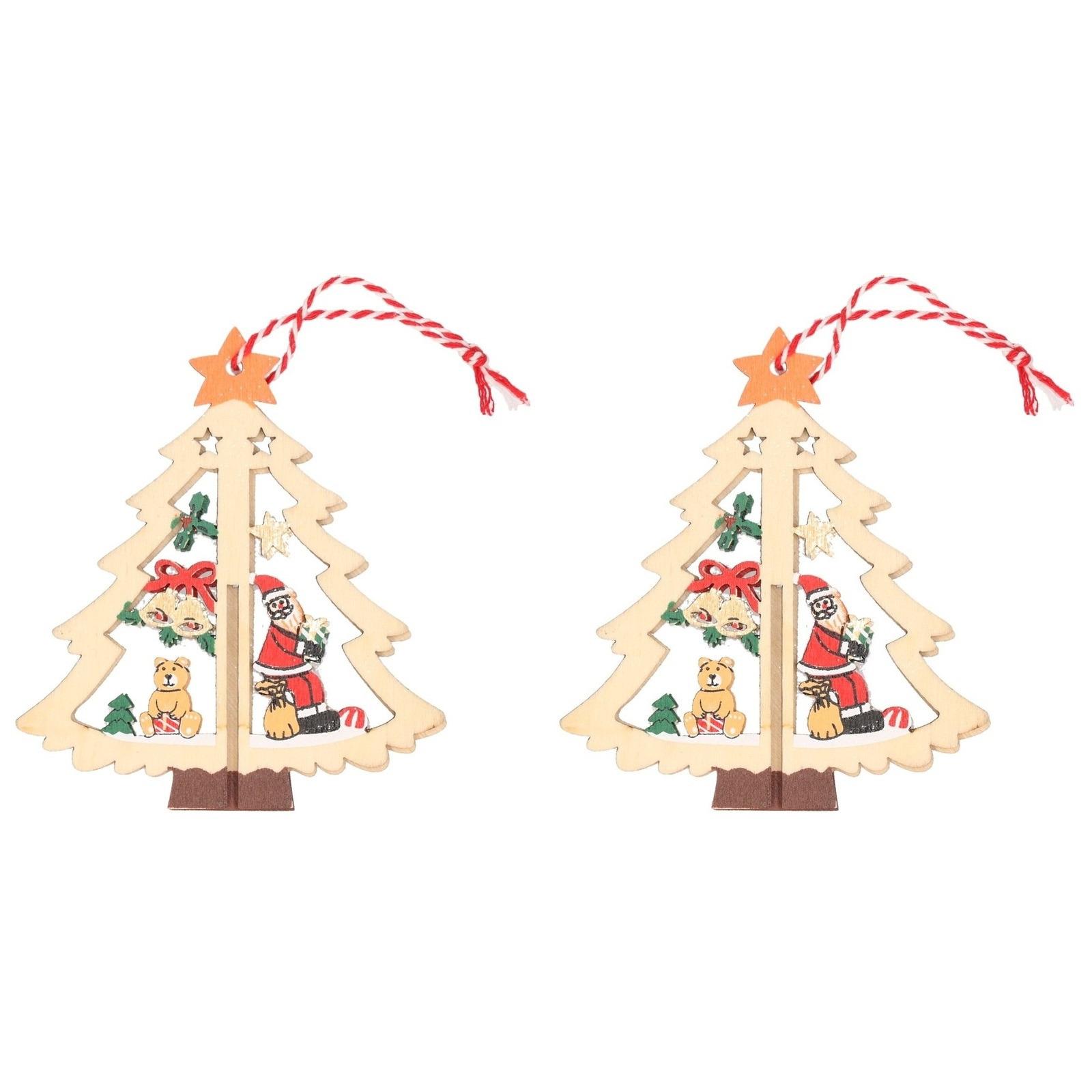 2x Kerst hangdecoratie kerstbomen met kerstman 10 cm van hout