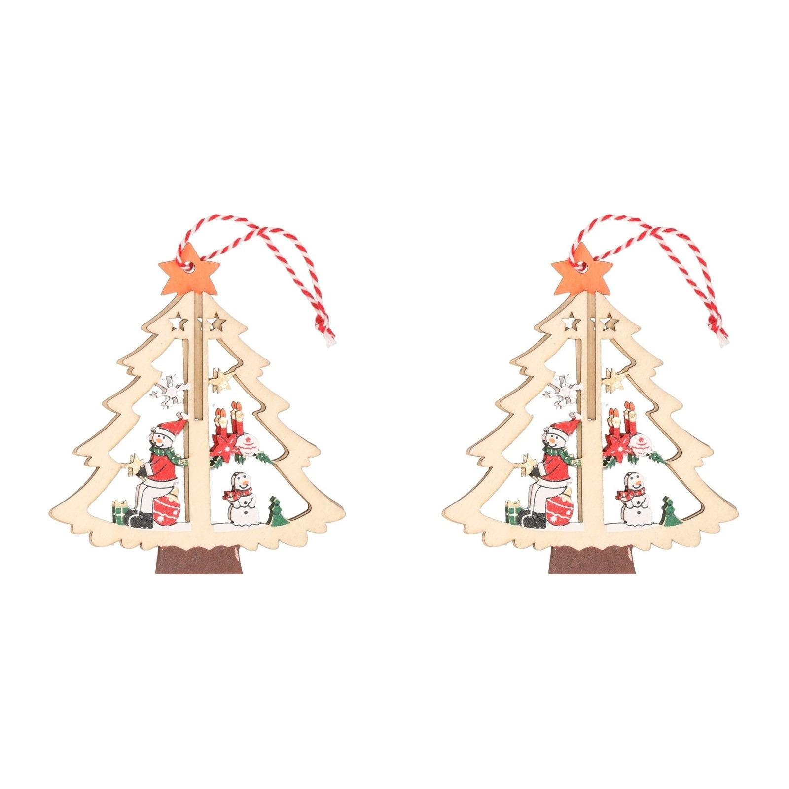 2x Kerst hangdecoratie kerstbomen met sneeuwpop 10 cm van hout