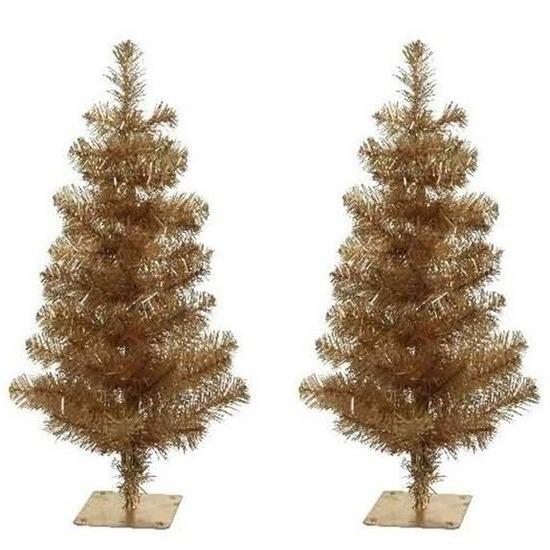 2x Kerst kunstkerstbomen goud 60 cm versiering-decoratie