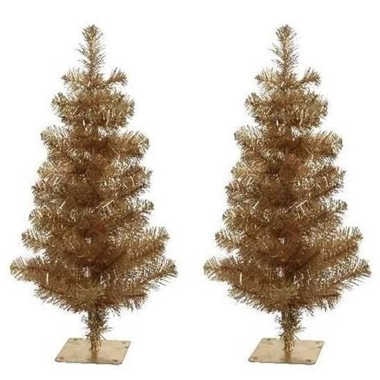 2x Kerst kunstkerstbomen goud 75 cm versiering-decoratie