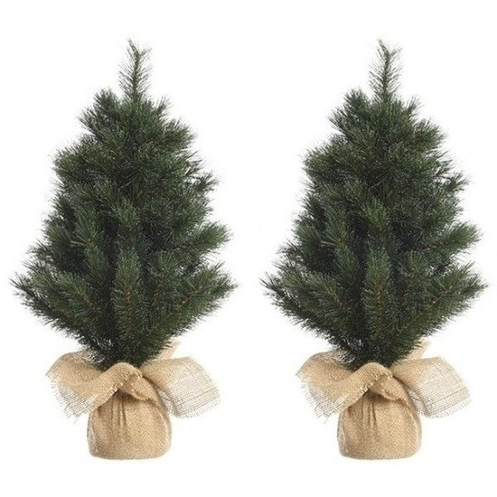 2x Kerst kunstkerstbomen groen 45 cm versiering-decoratie