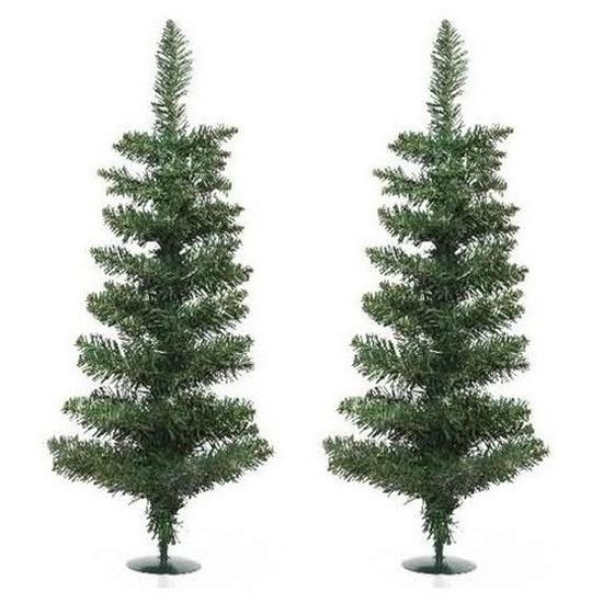 2x Kerst kunstkerstbomen groen 60 cm versiering-decoratie
