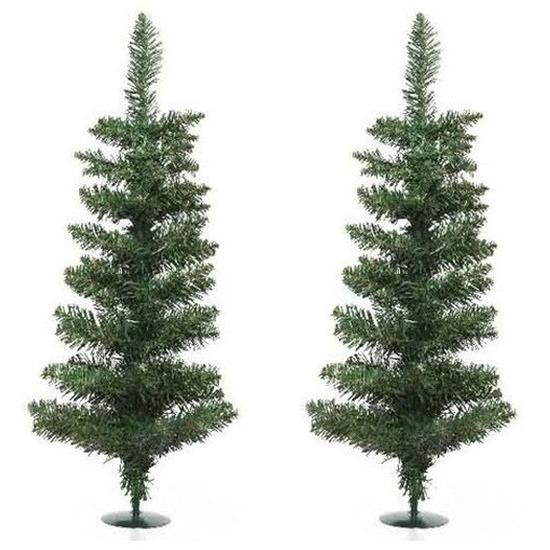 2x Kerst kunstkerstbomen groen 75 cm versiering-decoratie