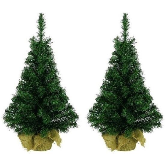 2x Kerst kunstkerstbomen groen 90 cm versiering-decoratie