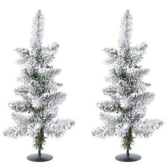 2x Kerst kunstkerstbomen groen met sneeuw 60 cm versiering-decoratie