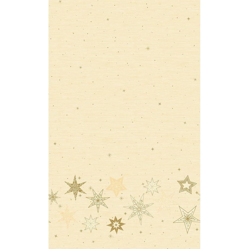 2x Kerstversiering papieren tafelkleden beige met gouden sterren 138 x 220 cm