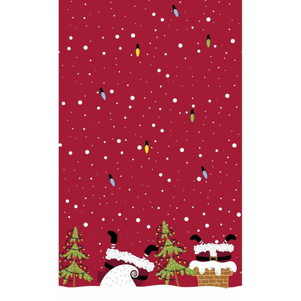 2x Kerstversiering papieren tafelkleden rood met kerstman benen 138 x 220 cm