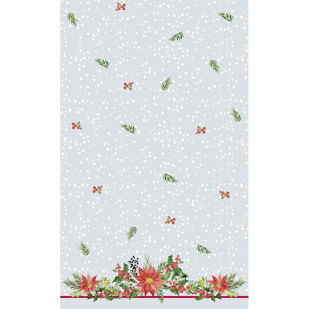 2x Kerstversiering papieren tafelkleden zilver met kerststerren 138 x 220 cm