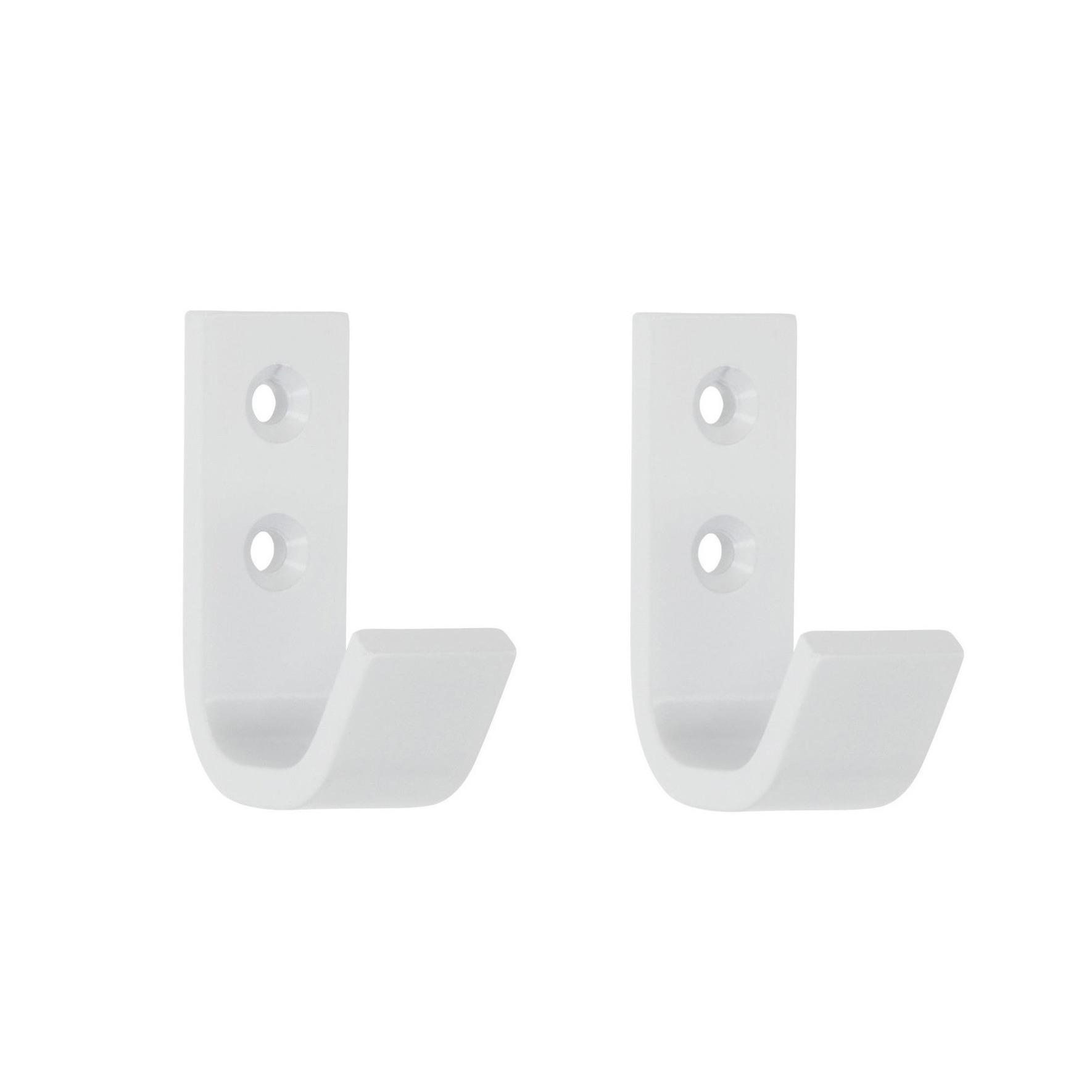 2x Luxe witte garderobe haakjes-jashaken-kapstokhaakjes hoogwaardig aluminium 5,4 x 3,7 cm