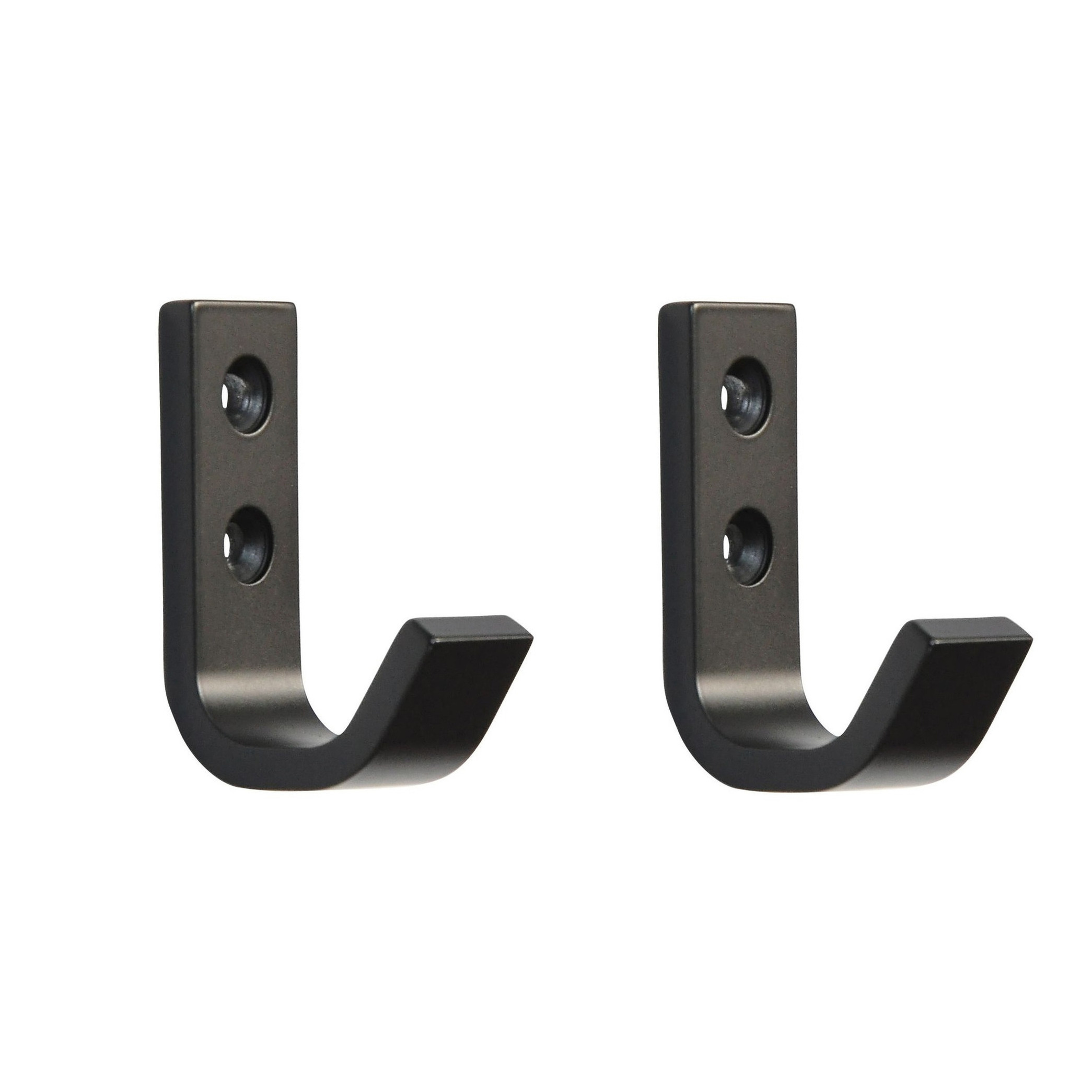 2x Luxe zwarte garderobe haakjes-jashaken-kapstokhaakjes hoogwaardig aluminium 5,4 x 3,7 cm