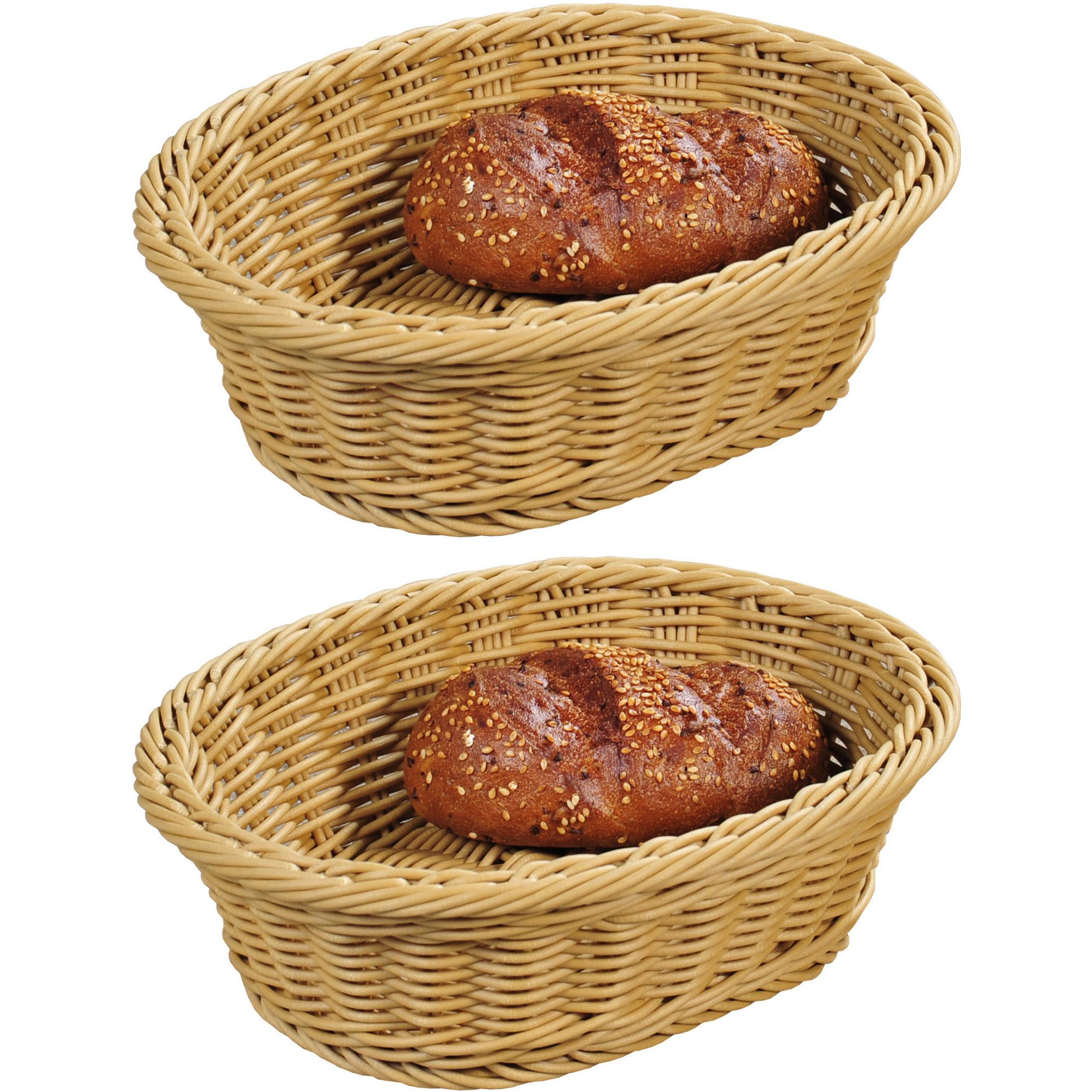 2x Ovalen fruitmandje-broodmandje 20 x 25 x 8,5 cm gevlochten riet uiterlijk