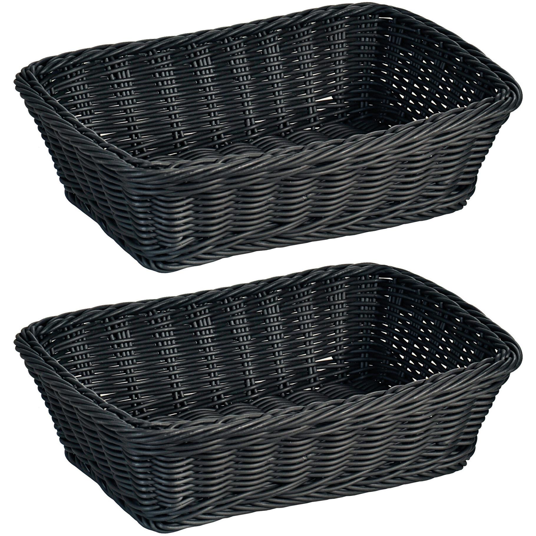 2x Rechthoekig fruitmandje-broodmandje 20 x 30 x 8,5 cm zwart gevlochten riet uiterlijk