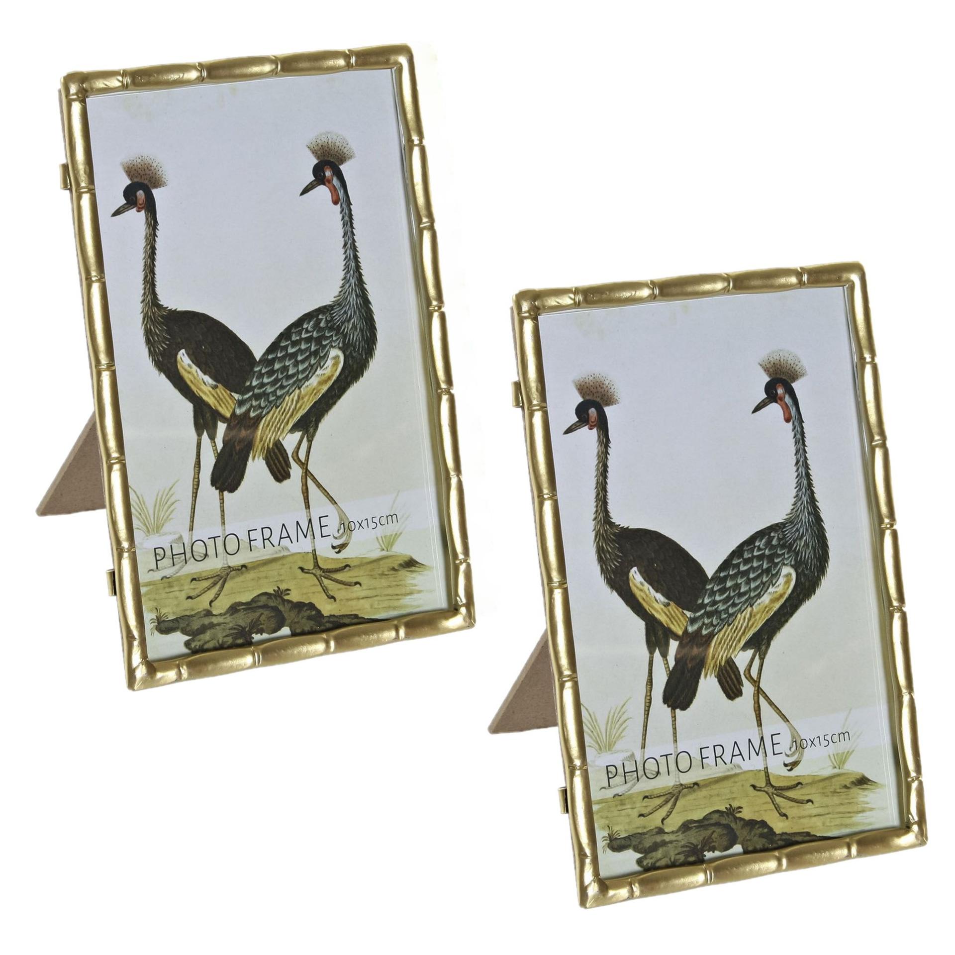 2x stuks fotolijstjes goud geschikt voor een foto van 10 x 15 cm