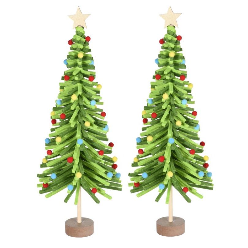 2x stuks kerstdecoratie kerstboom groen van vilt 45 cm