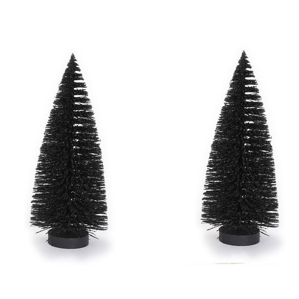 2x stuks kerstdorp kerstboompjes zwart 27 cm