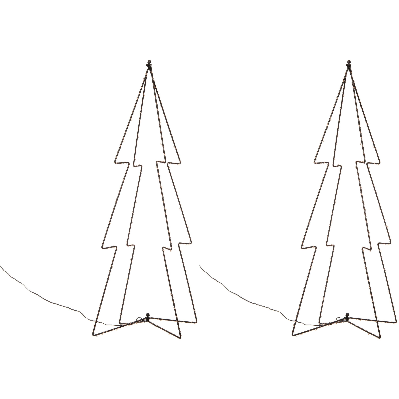 2x stuks kerstverlichting 3D kerstbomen met 60 lampjes 72 cm