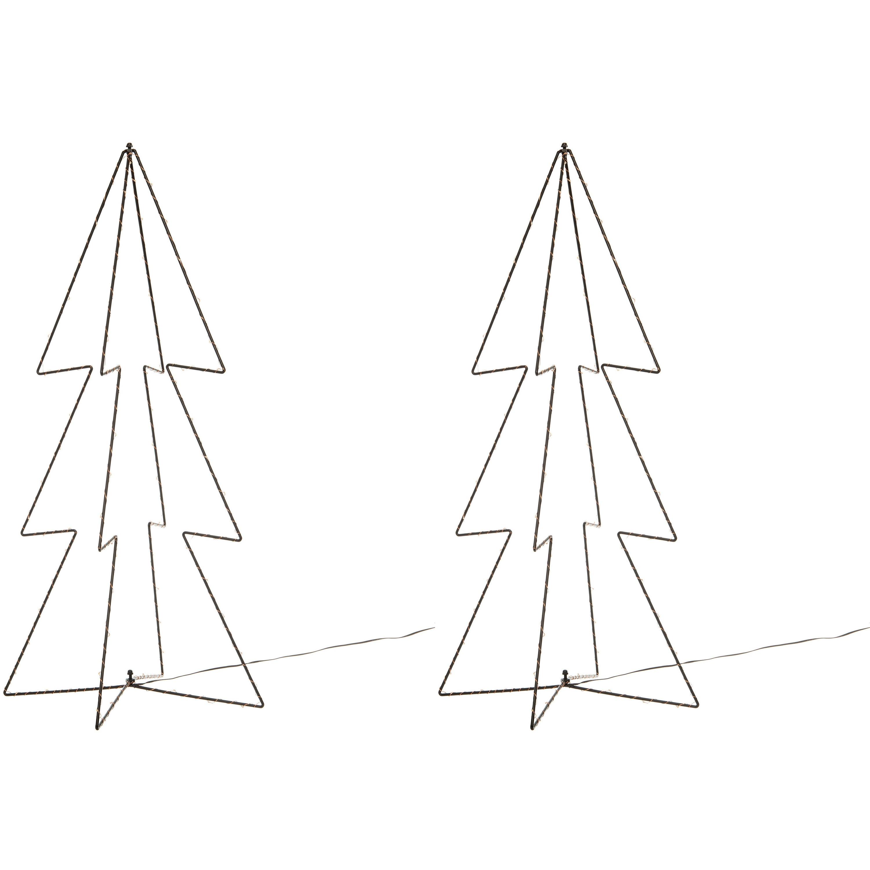 2x stuks kerstverlichting 3D kerstbomen met 90 lampjes 91 cm