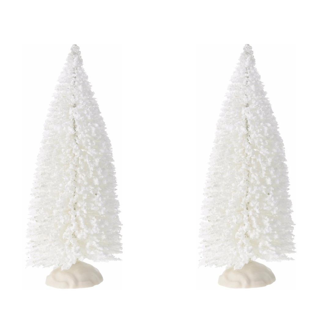 2x stuks kleine witte kerstboompjes 19 cm
