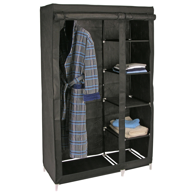 2x stuks mobiele kledingkasten-garderobekasten zwart opvouwbaar 180 cm