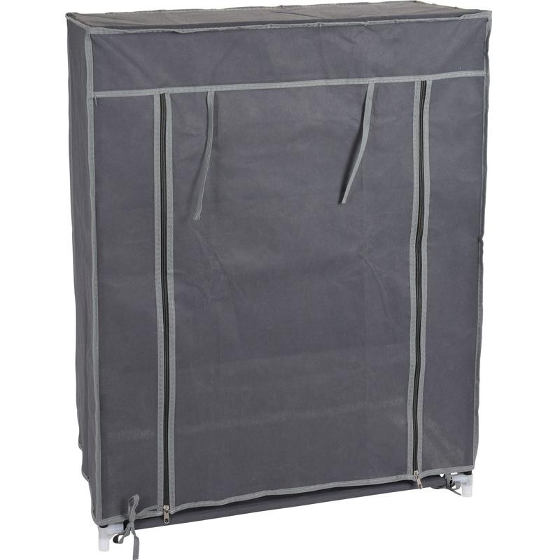 2x stuks tijdelijke kledingkasten-garderobekasten grijs met rits 80 cm