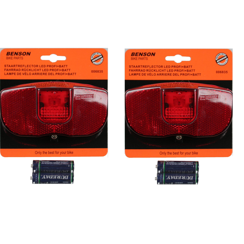 2x Universele fietsverlichting achterlampen met reflector LED inclusief 2x AAA batterij