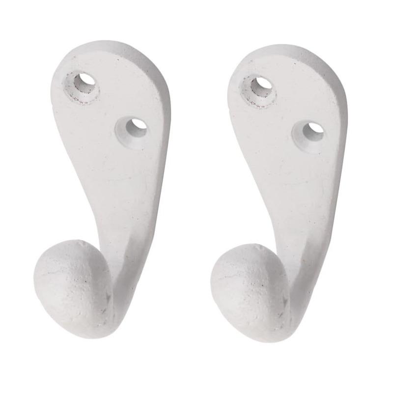 2x Witte retro garderobe haakjes-jashaken-kapstokhaakjes aluminium enkele haak 5,1 x 2,2 cm