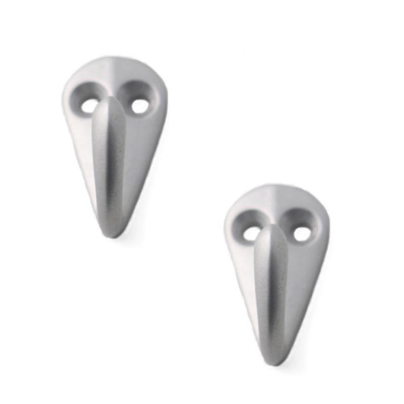 2x Zilveren garderobe haakjes-jashaken-kapstokhaakjes aluminium enkele haak 3,6 x 1,9 cm