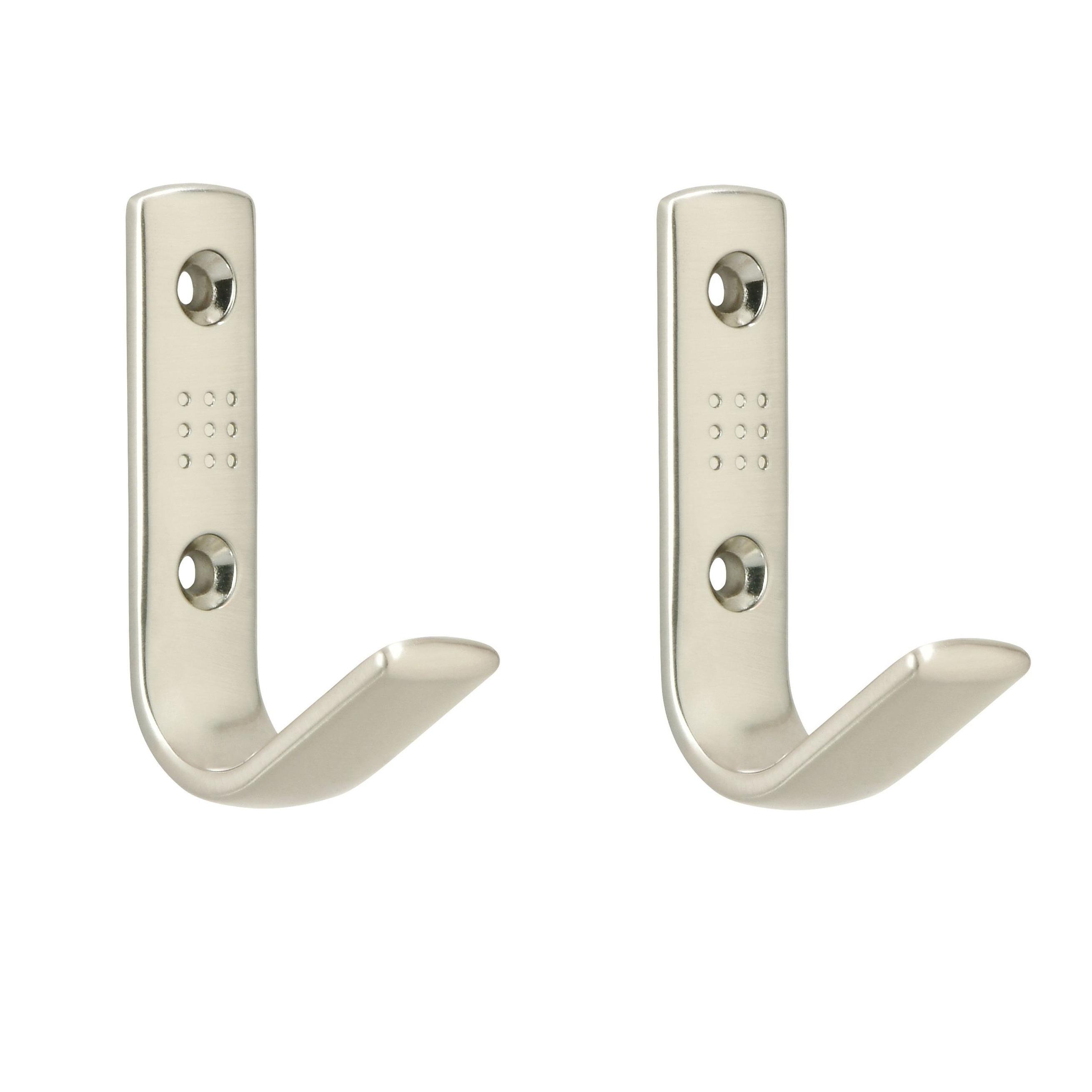 2x Zilveren garderobe haakjes-jashaken-kapstokhaakjes zamac met dubbele haak 4,6 x 7 cm