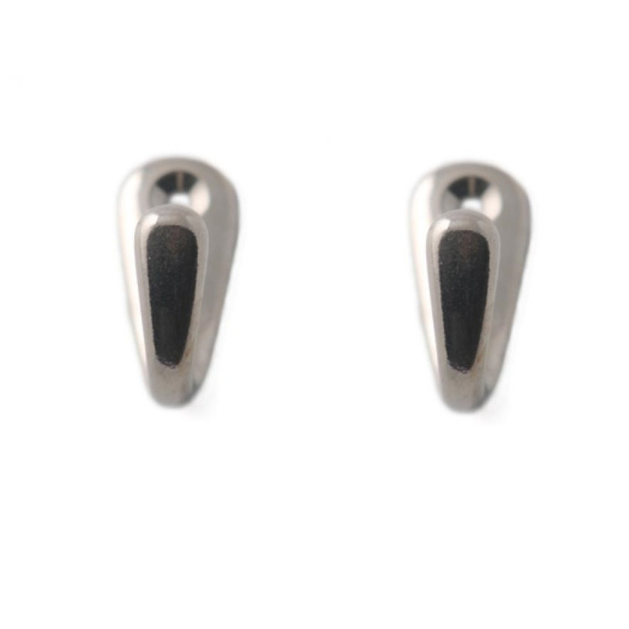 2x Zilverkleurige garderobe haakjes-jashaken-kapstokhaakjes messing enkele haak 3,5 x 1,5 cm