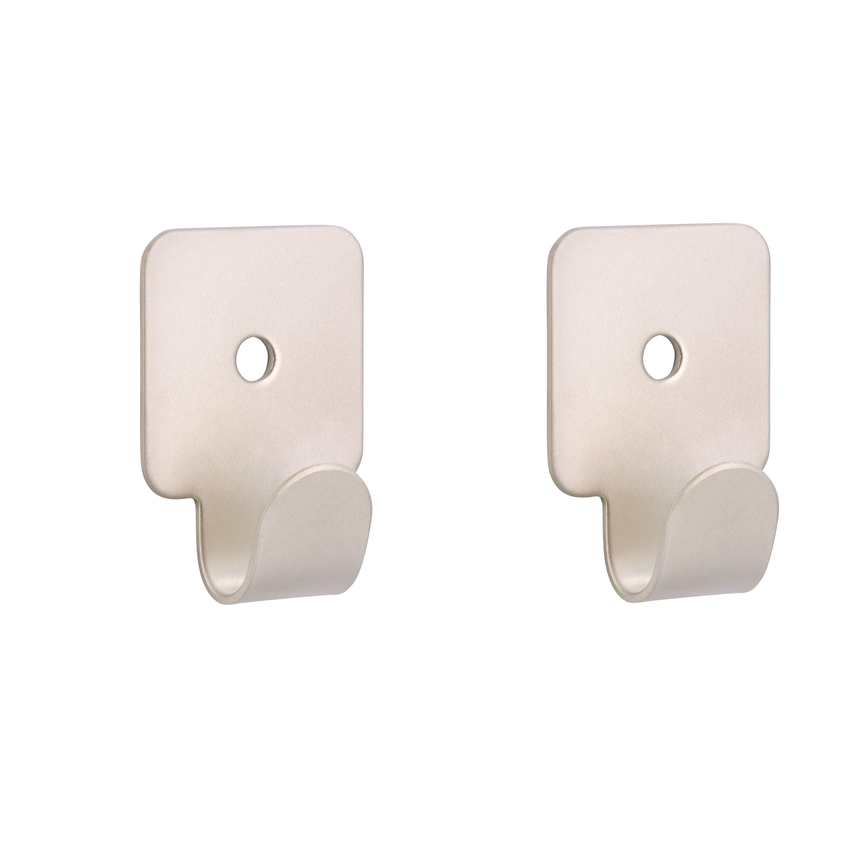 2x Zilverkleurige garderobe haakjes-jashaken-kapstokhaakjes metaal verzinkt enkele haak 4.1 x 3.0 cm