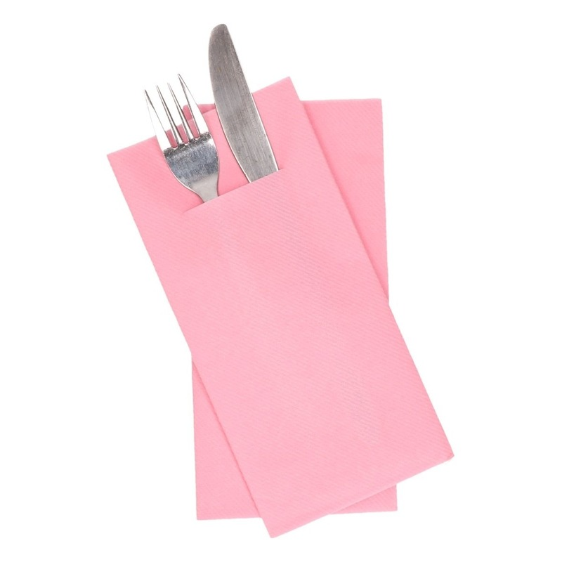 36 stuks Lichtroze servetten met vakje voor bestek