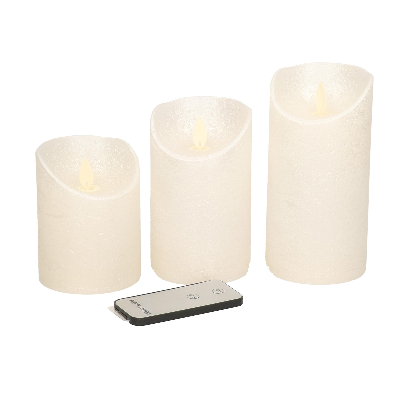 3x Creme parel LED kaarsen op batterijen inclusief afstandsbediening